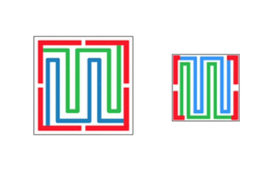 赤:ボンディングパッド(表面Au0.3umt)青:抵抗回路1 ヒーター兼温度センサー(約40Ω)緑:抵抗回路2 ヒーター兼温度センサー(約40Ω)
